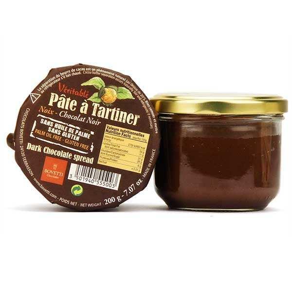 Bovetti chocolats Véritable pâte à tartiner chocolat noir et noix sans huile de palme - Pot 200g