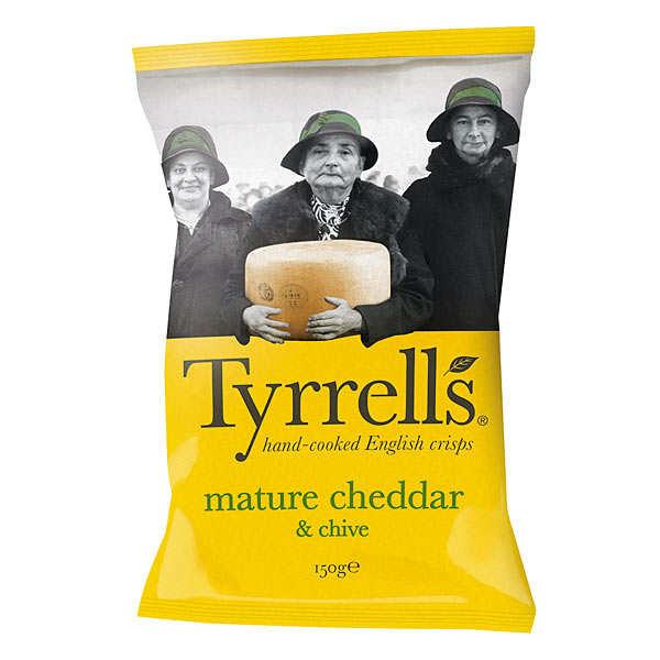 Tyrrells Chips de pommes de terre au cheddar affiné et à la ciboulette - 3 sachets de 40g