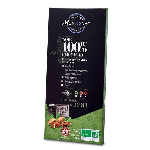 Michel Montignac Tablette chocolat noir pur cacao 100% et amande bio - Montignac - 3 tablettes de 100g