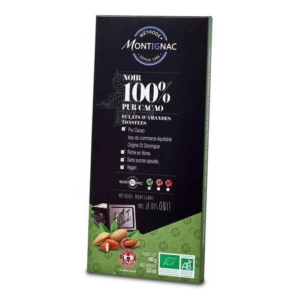 Michel Montignac Tablette chocolat noir pur cacao 100% et amande bio - Montignac - Tablette 100g