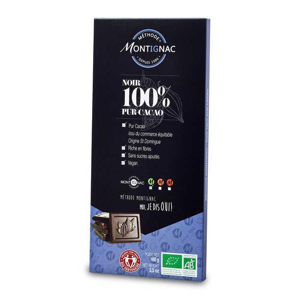 Michel Montignac Tablette chocolat noir pur cacao 100% bio - Montignac - 3 tablettes de 100g