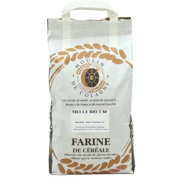 Moulin de Colagne Farine de blé bise à la meule T80 bio - 3 sacs de 5kg