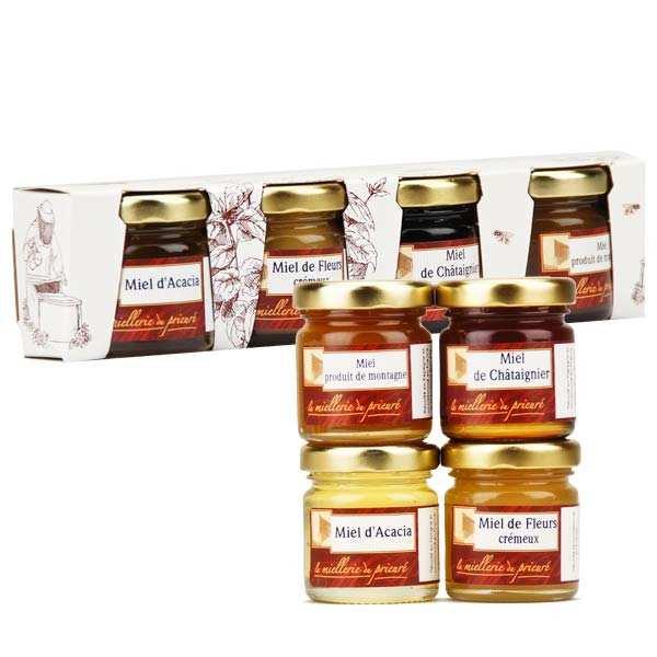 Miellerie du Prieuré Coffret 4 miels acacia, châtaignier, printemps, montagne - 4 verrines de 50g