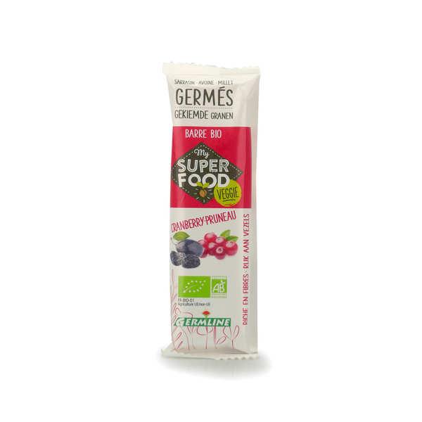 Germline Barre de céréales germées bio et cranberry et pruneau - Lot 6 barres de 33g