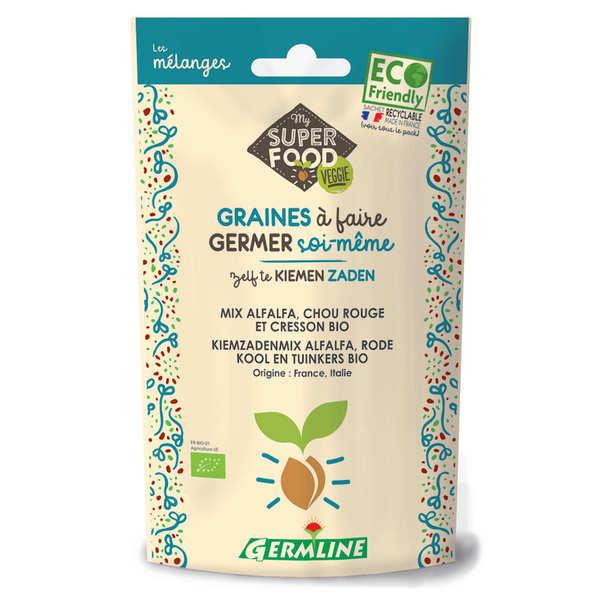 Germline Alfalfa, cresson et chou rouge bio - Graines à germer - Sachet 150g