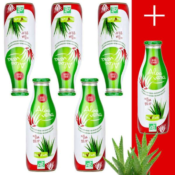 Biovitam Pur jus d'Aloe Vera Bio en gel 5+1 offert - 5 bouteilles de 1L + 1 offerte
