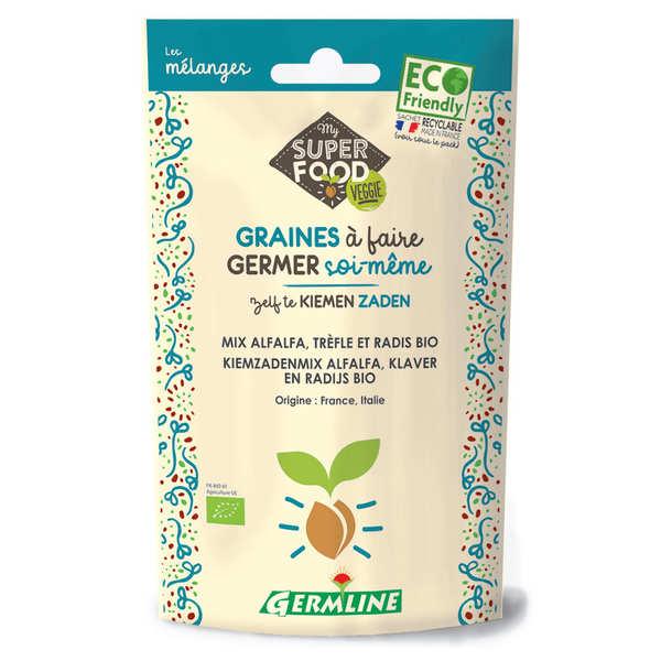 Germline Alfalfa, trèfle et radis bio - Graines à germer - Lot 3 sachets de 150g