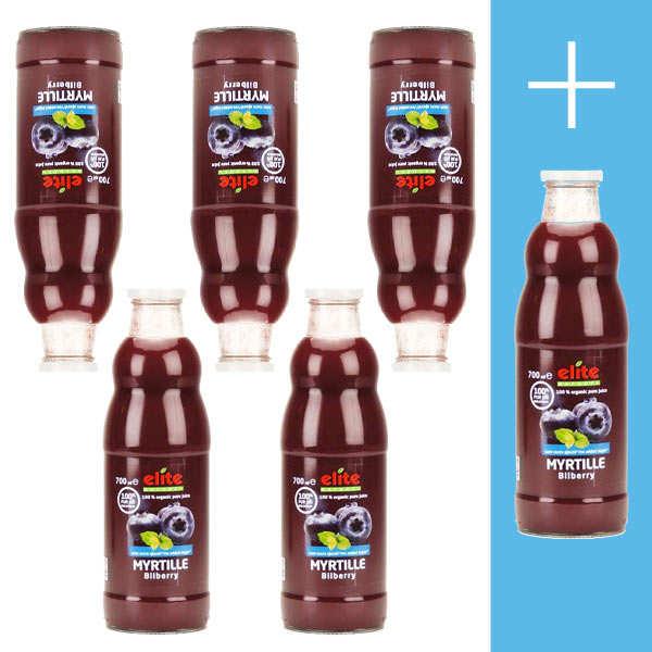 Elitegroup Pur jus de myrtille bio 5+1 offert - Lot 5 bouteilles de 70cl + 1 offerte