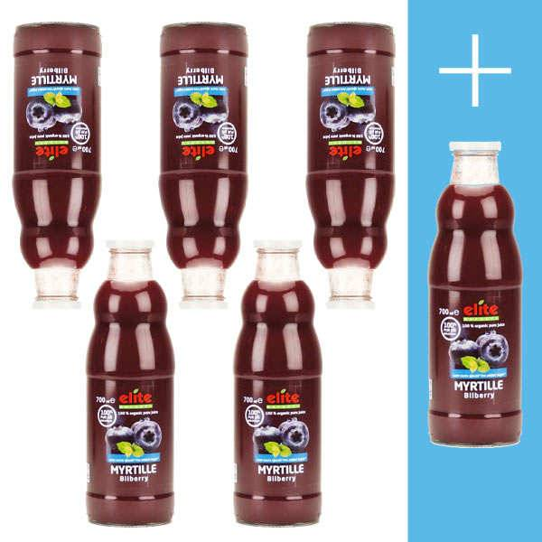 Elitegroup Pur jus de myrtille bio 5+1 offert - Lot 5 bouteilles de 70cl + 1 offerte