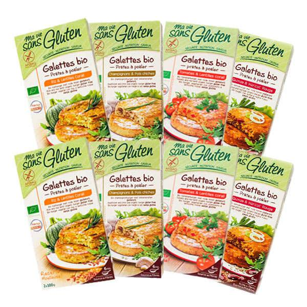 Ma vie sans gluten Mix de galettes prêtes à poêler bio sans gluten - Lot mix 8 boites (16 étuis X 100g)