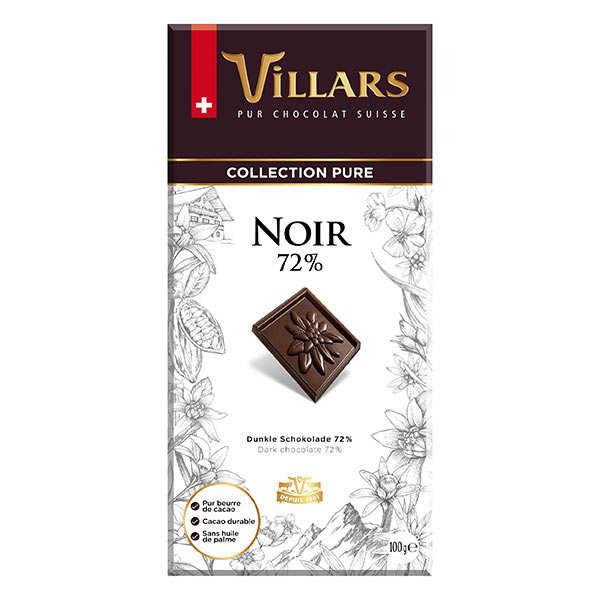 Villars maître chocolatier Chocolat noir 72% Villars - Tablette 100g