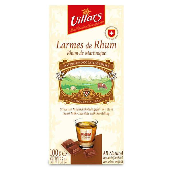 Villars maître chocolatier Chocolat au lait larmes de Rhum de Martinique - 10 tablettes de 100g