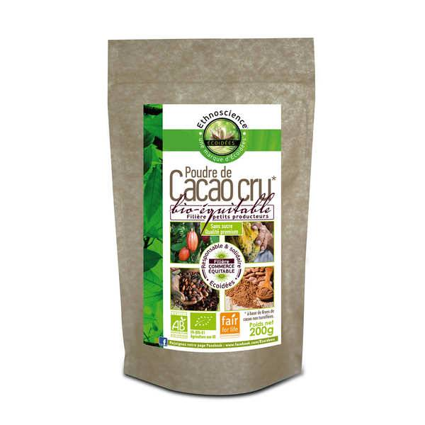 Ethnoscience Poudre de cacao cru sans sucre bio - Sachet 200g
