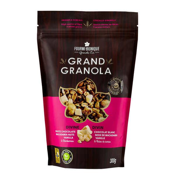 Fourmi Bionique Granola gourmet divin - Chocolat blanc, macadamia et vanille - Sachet 300g