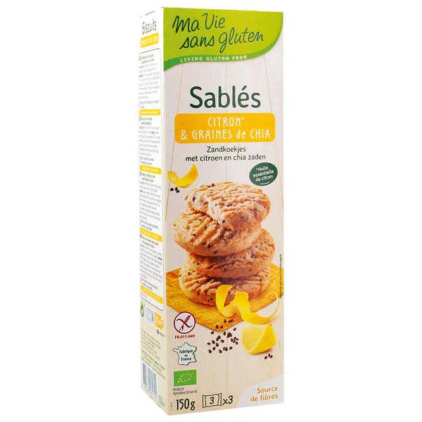 Ma vie sans gluten Sablés bio citron et graine de chia sans gluten - Paquet 150g