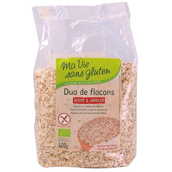 Ma vie sans gluten Duo bio de flocons d'avoine et de sarrasin - sans gluten - Paquet 400g