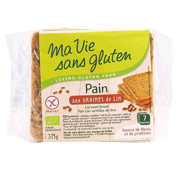 Ma vie sans gluten Pain bio aux graines de lin - sans gluten - Paquet 375g