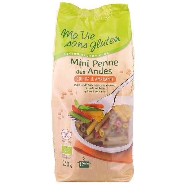 Ma vie sans gluten Mini Penne des andes - pâtes bio multicolores au quinoa sans gluten - Lot de 8 paquets de 250g