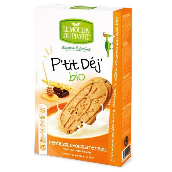 Le Moulin du Pivert Biscuits P'tit déj' bio Céréales miel et chocolat - Paquet 190g