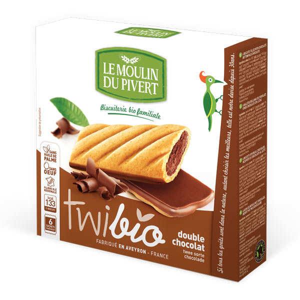 Le Moulin du Pivert Twibio - Biscuit bio fourré chocolat - Paquet 150g