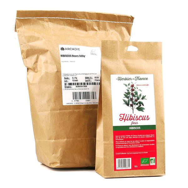 Cook - Herbier de France Fleurs d'hibiscus bio - 1kg (2 sacs de 500g de fleurs coupées)