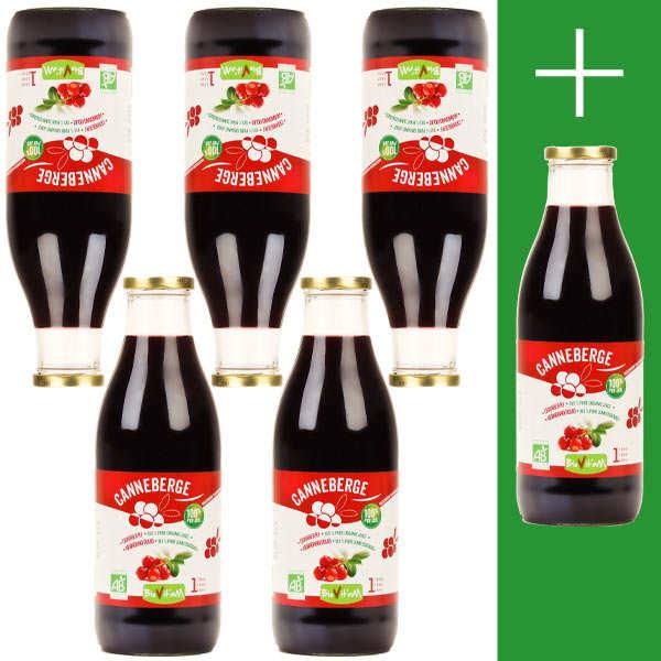 Biovitam Pur jus de cranberry bio 5L + 1L offert - 5 bouteilles de 1L + 1 offerte