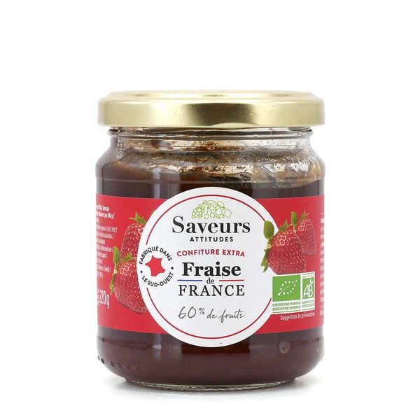 Saveurs Attitudes Confiture extra de fraises d'Aquitaine bio - Pot 220g