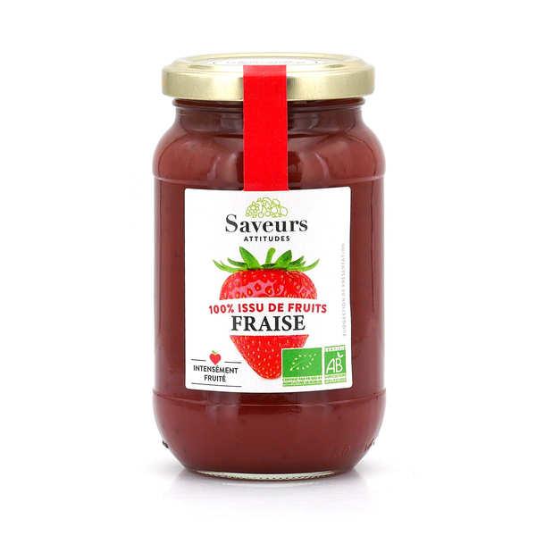 Saveurs Attitudes Confiture de fraise bio sans sucre ajouté - Lot de 3 pots de 310g