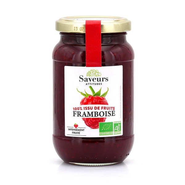 Saveurs et Fruits Confiture de framboise bio sans sucre ajouté - Lot de 3 pots de 310g