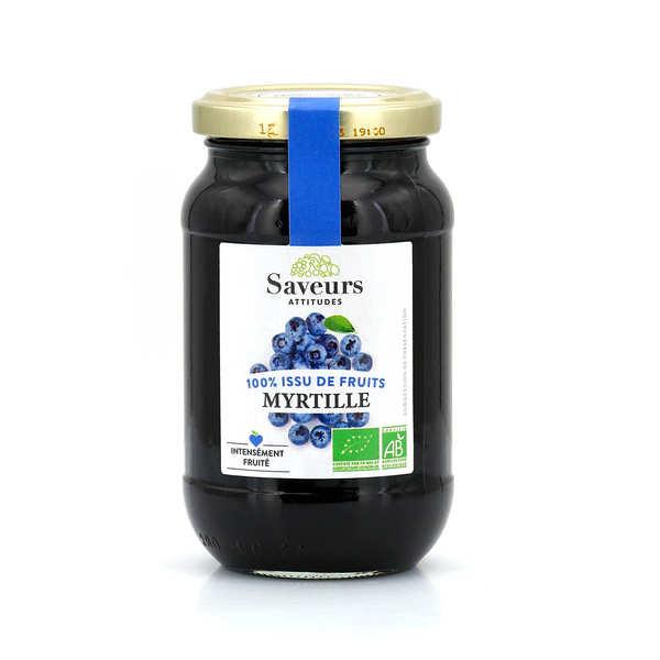 Saveurs Attitudes Confiture de myrtille sauvage bio sans sucre ajouté - 3 pots de 310g