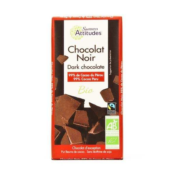 Saveurs Attitudes Chocolat noir bio équitable 99% - Tablette 80g