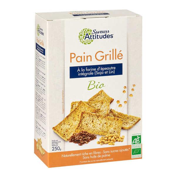 Saveurs Attitudes Pain grillé bio à la farine d'épeautre intégrale, soja et lin - Paquet 250g