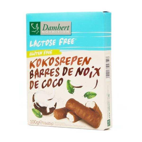 Damhert Barres coco enrobées de chocolat sans lactose et sans gluten - Paquet 100g (4 barres)