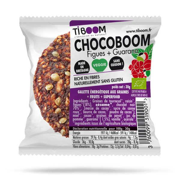 Tiboom Chocoboom barre énergétique bio guarana et figues - sans gluten - Lot 20 disques 30g