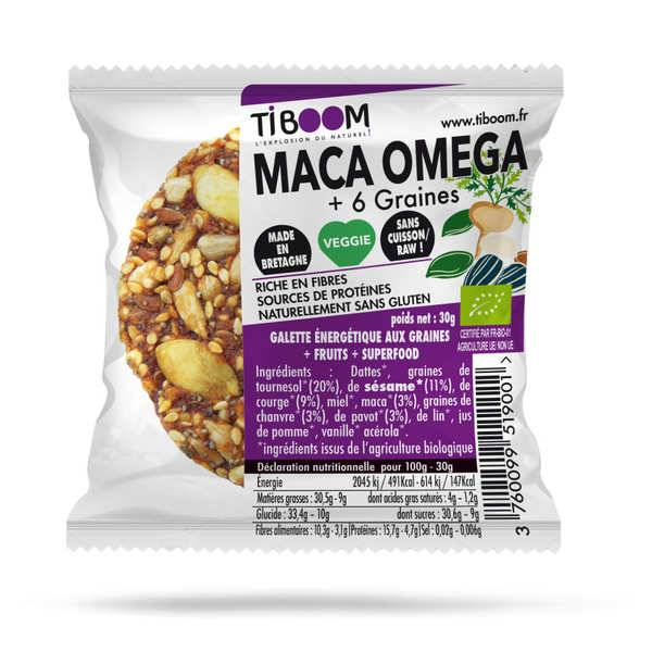 Tiboom Maca boom barre énergétique bio au maca - sans gluten - Disque 30g