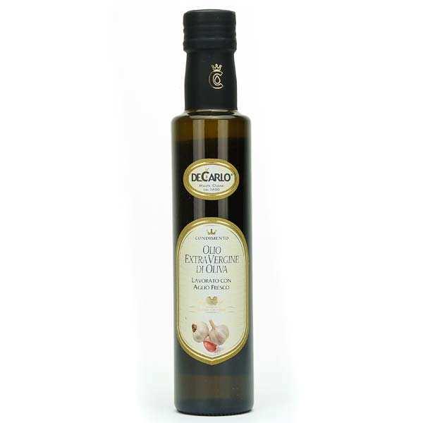 De Carlo Huile d'olive extra vierge à l'ail frais - Bouteille 25cl