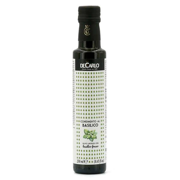 De Carlo Huile d'olive extra vierge au basilic frais - Bouteille 25cl
