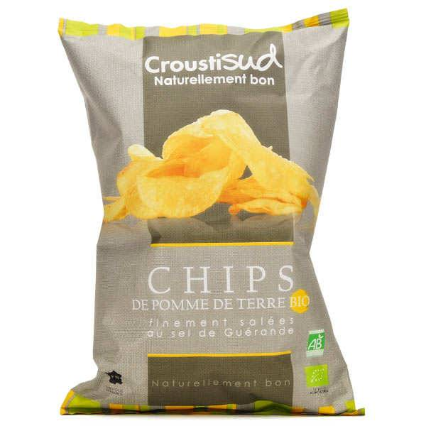 Croustisud Chips de pomme de terre finement salées bio - 10 sachets de 100g