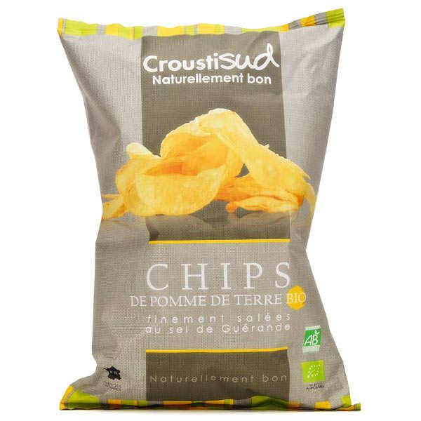 Croustisud Chips de pomme de terre finement salées bio - 5 sachets de 100g