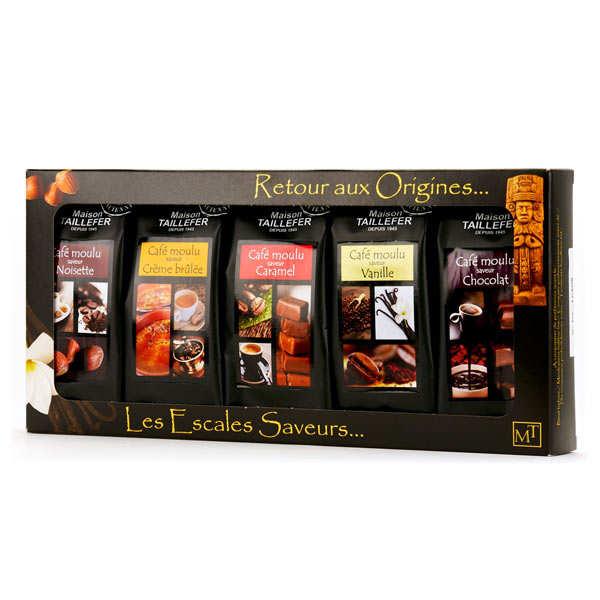 Maison Taillefer Coffret café moulu pur arabica aromatisé - Coffret 5 paquets de 50g