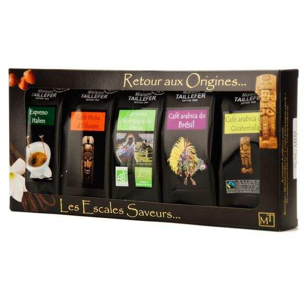 Maison Taillefer Coffret café moulu grandes origines - Coffret 5 paquets de 50g