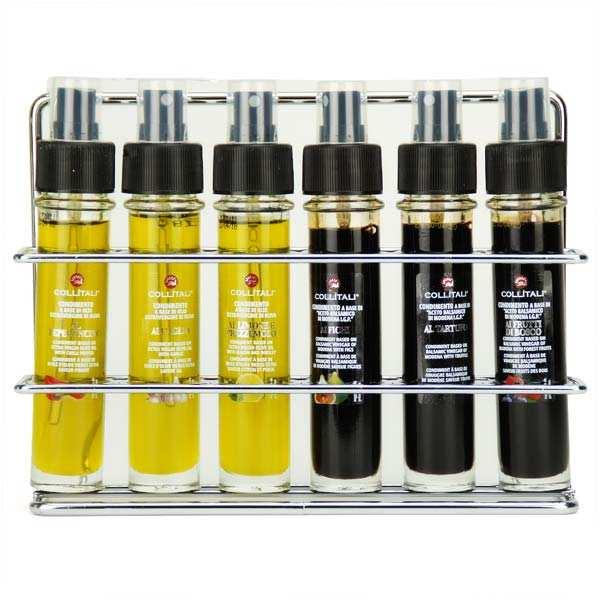 La Collina Toscana Coffret - 3 huiles d'olive et 3 vinaigres balsamiques en sprays - Coffret 6 x 30ml sprays verre + présentoir