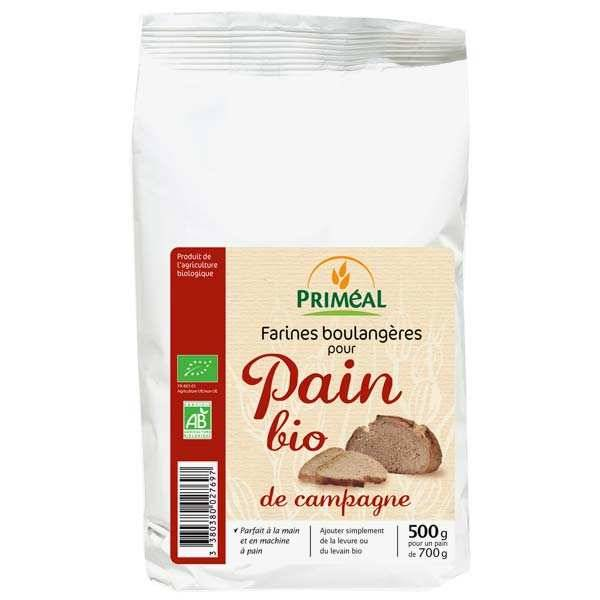 Priméal Farine boulangère pour pain de campagne bio - 6 sachets de 500g