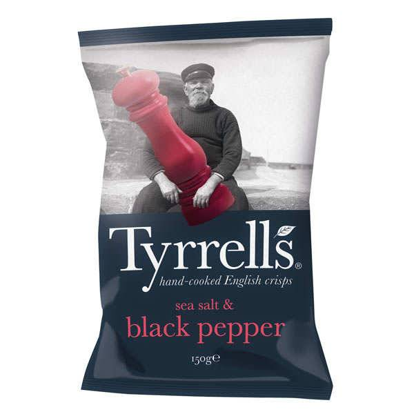 Tyrrells Chips de pommes de terre au sel de mer et poivre moulu - 6 sachets de 40g
