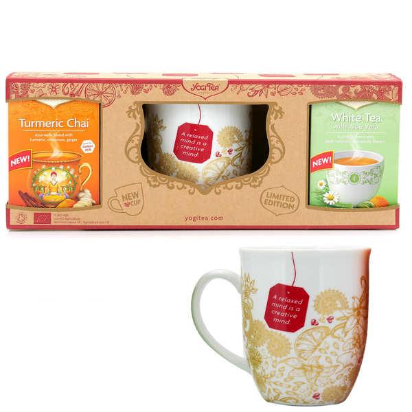 Yogi Tea Coffret cadeau Yogi Tea 2 thés et un mug - Chaï curcuma et thé blanc à l'Aloe Vera - Coffret 2 boites de thés et un mug