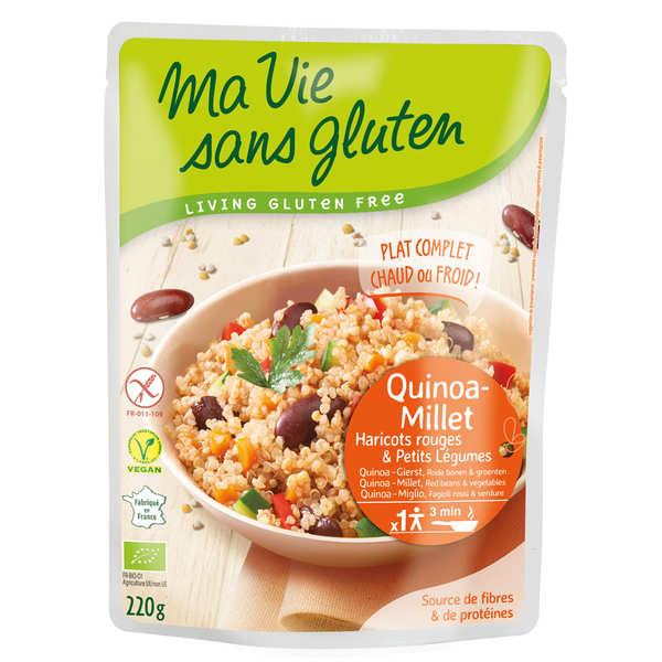 Ma vie sans gluten Céréales cuisinées quinoa-millet, haricots rouges, légumes bio et sans gluten - Sachet 220g
