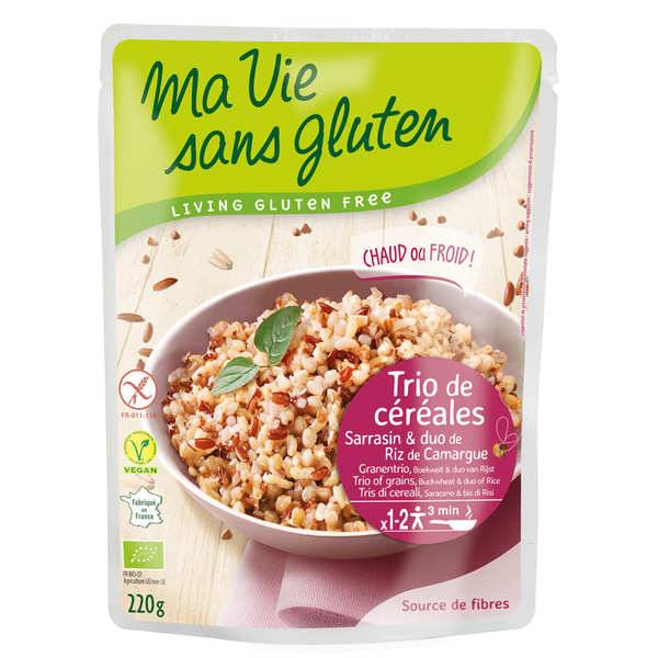Ma vie sans gluten Trio de céréales bio au naturel : sarrasin et 2 riz de Camargue sans gluten - Sachet 220g