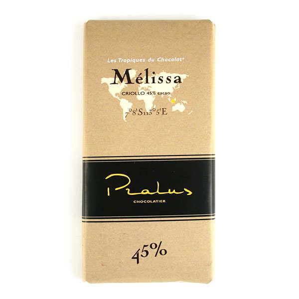 Chocolats François Pralus Tablette de chocolat au lait corsé Mélissa - Criollo (Madagascar) 45% - Lot de 2 tablettes de 100g