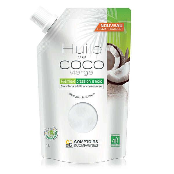 Comptoirs et Compagnies Huile de coco vierge bio - Lot de 3 doypack 25cl