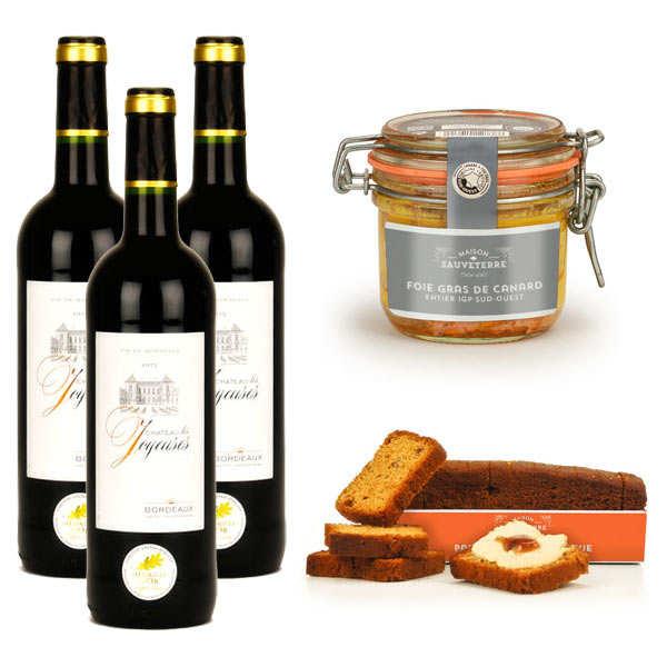 Maison Sauveterre Assortiment foie gras de canard entier, pain d'épices et vin rouge - Assortiment 5 produits